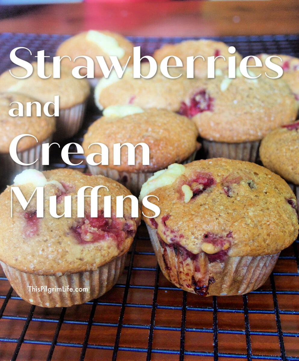 Delicious strawberry muffins with a sweet cream cheese surprise!