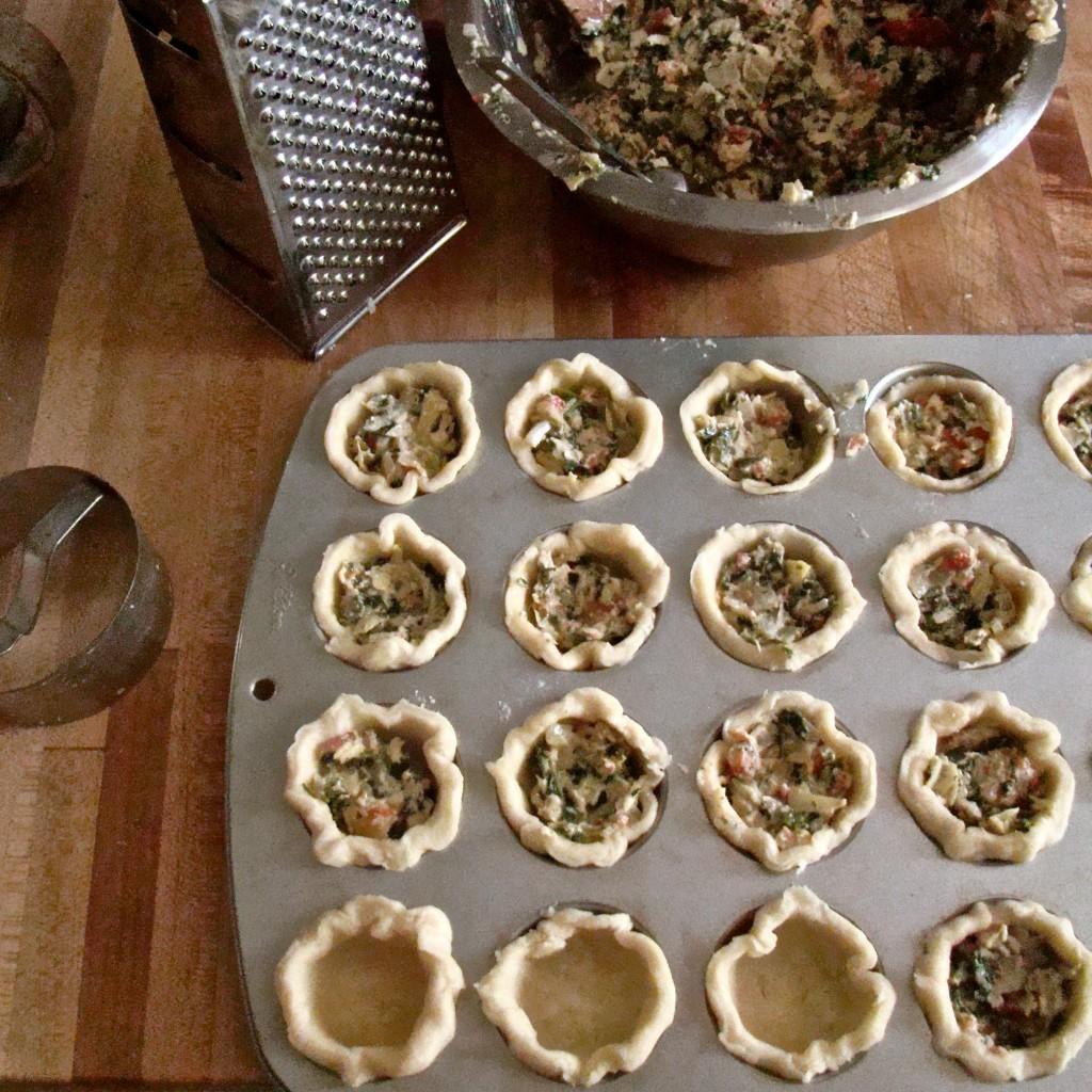 Caramelized Onion, Kale, & Artichoke Tartlets