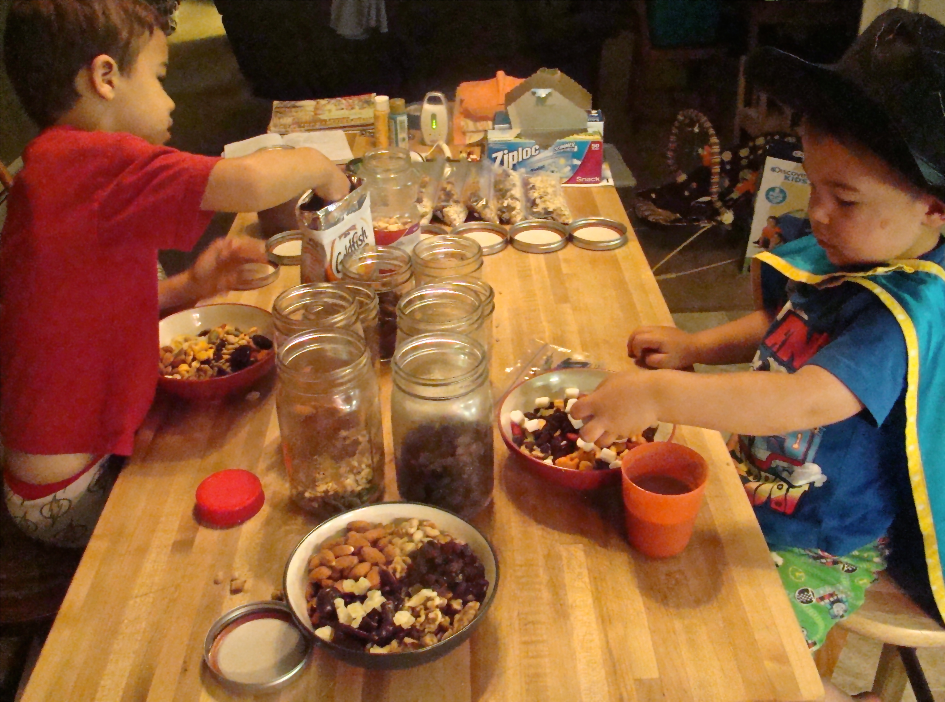 Going on a road trip? Set up a snack bar and let your kids put together snack bags for the trip.