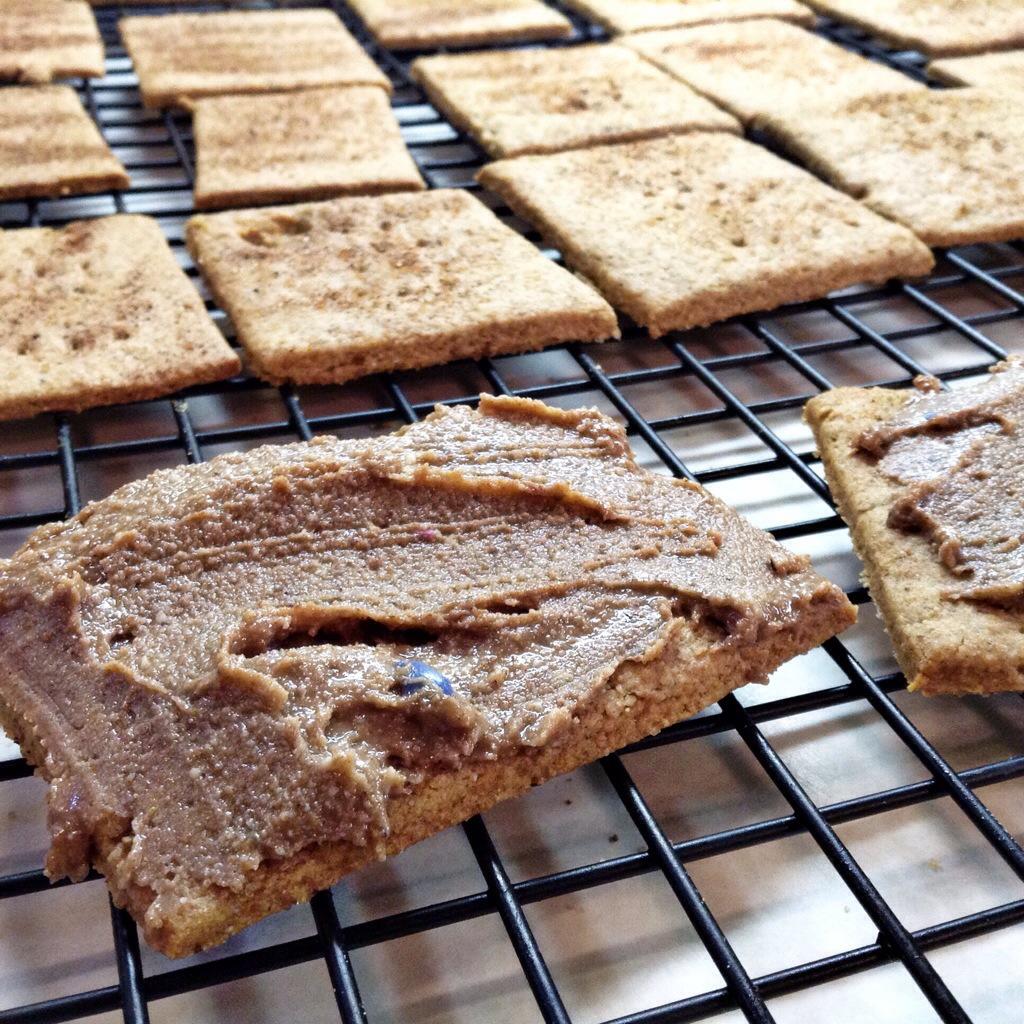 homemade graham crackers with chocolate almond butter