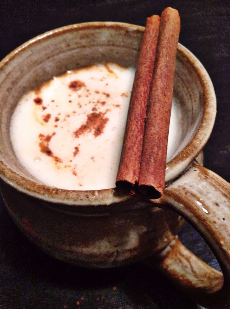 spiced apple cider with whipped cream