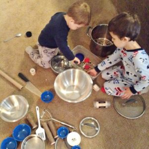 cooking with dry beans and pots