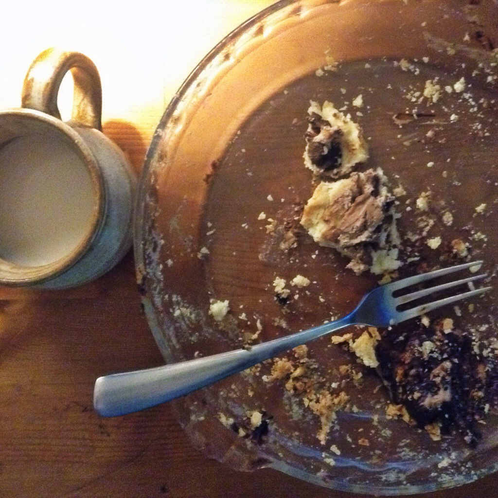remnants of an afternoon snack of pie