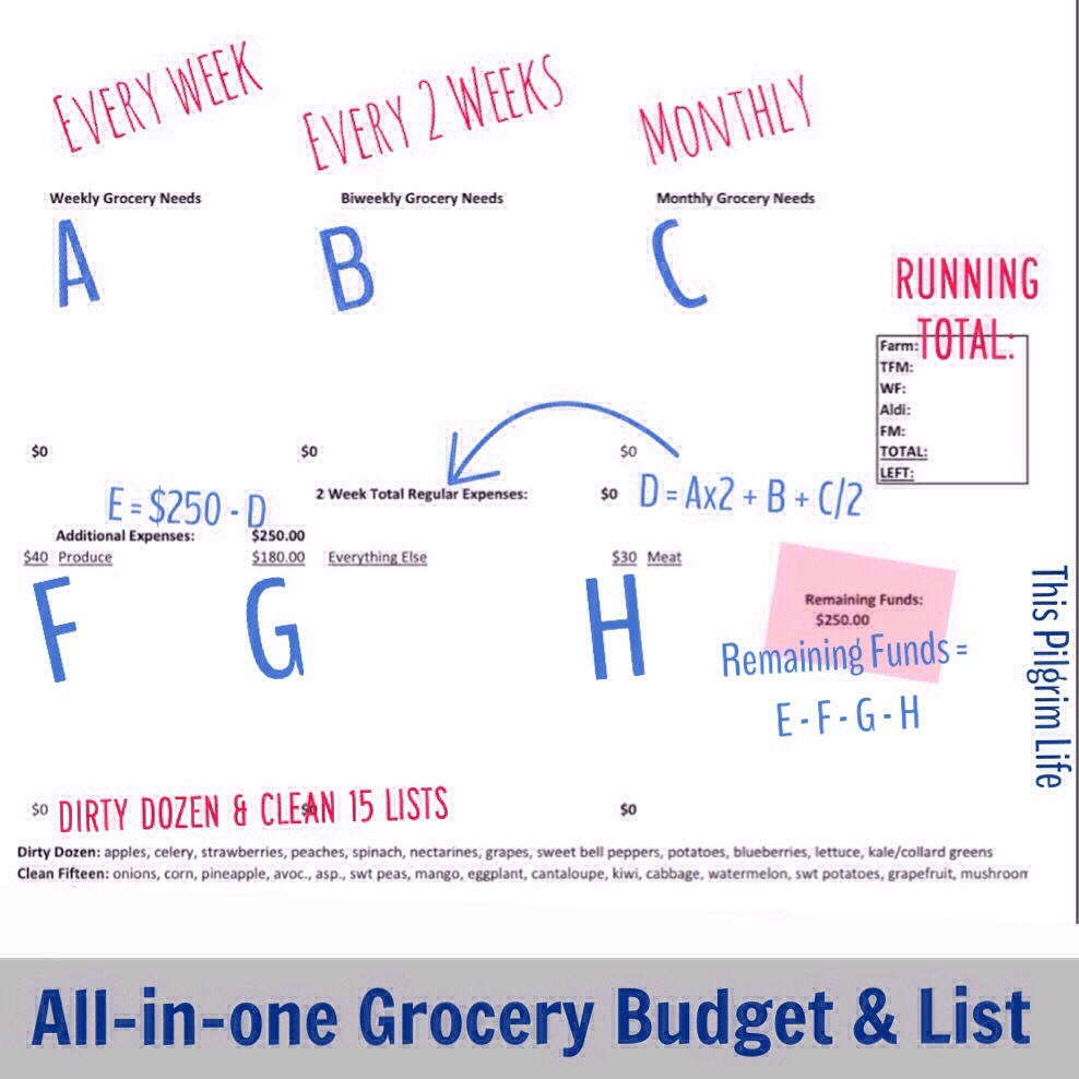 All-in-one Grocery Budget and List