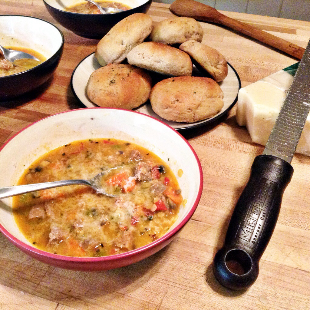 Spicy Sausage and Lentil Soup - This Pilgrim Life