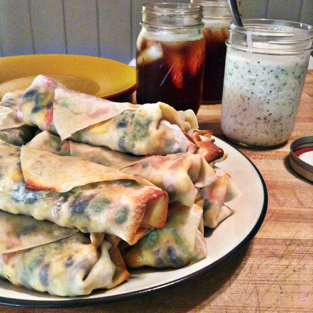 Black Bean and Spinach Egg Rolls