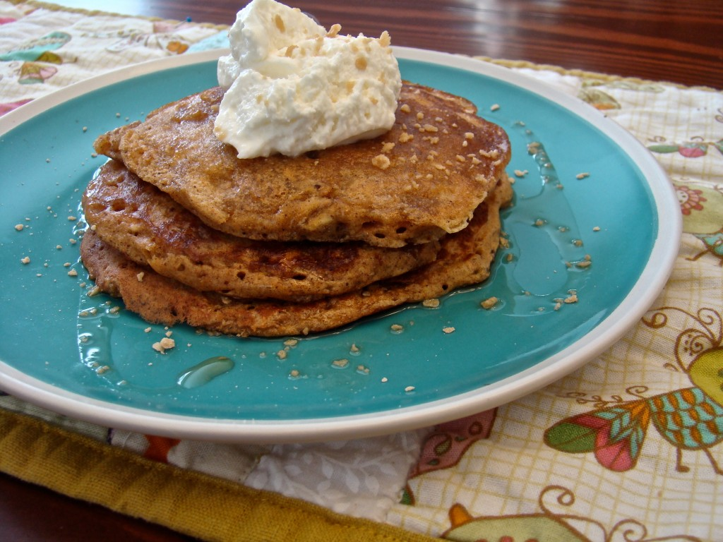 A batch of delicious spiced pancakes is the perfect way to jump into a new Fall season! Top them with maple syrup and fresh whipped cream for an amazing breakfast treat!