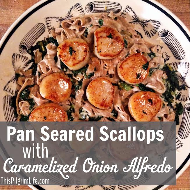 Pan Roasted Scallops with Caramelized Onion Alfredo