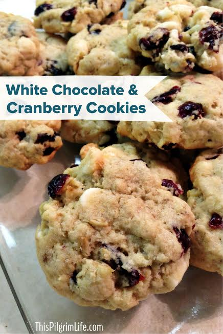 White Chocolate & Cranberry Cookies - This Pilgrim Life