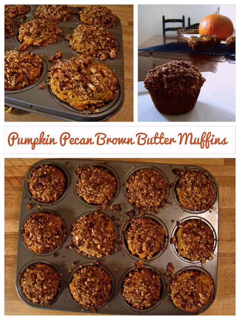 Delicious pumpkin muffins with a double dose of pecans and browned butter.