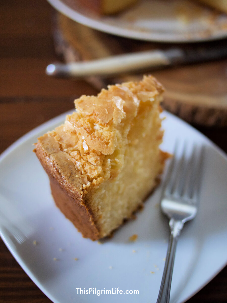 The best old-fashioned pound cake with a perfect, crumbly topping and sweet, tender crumb!