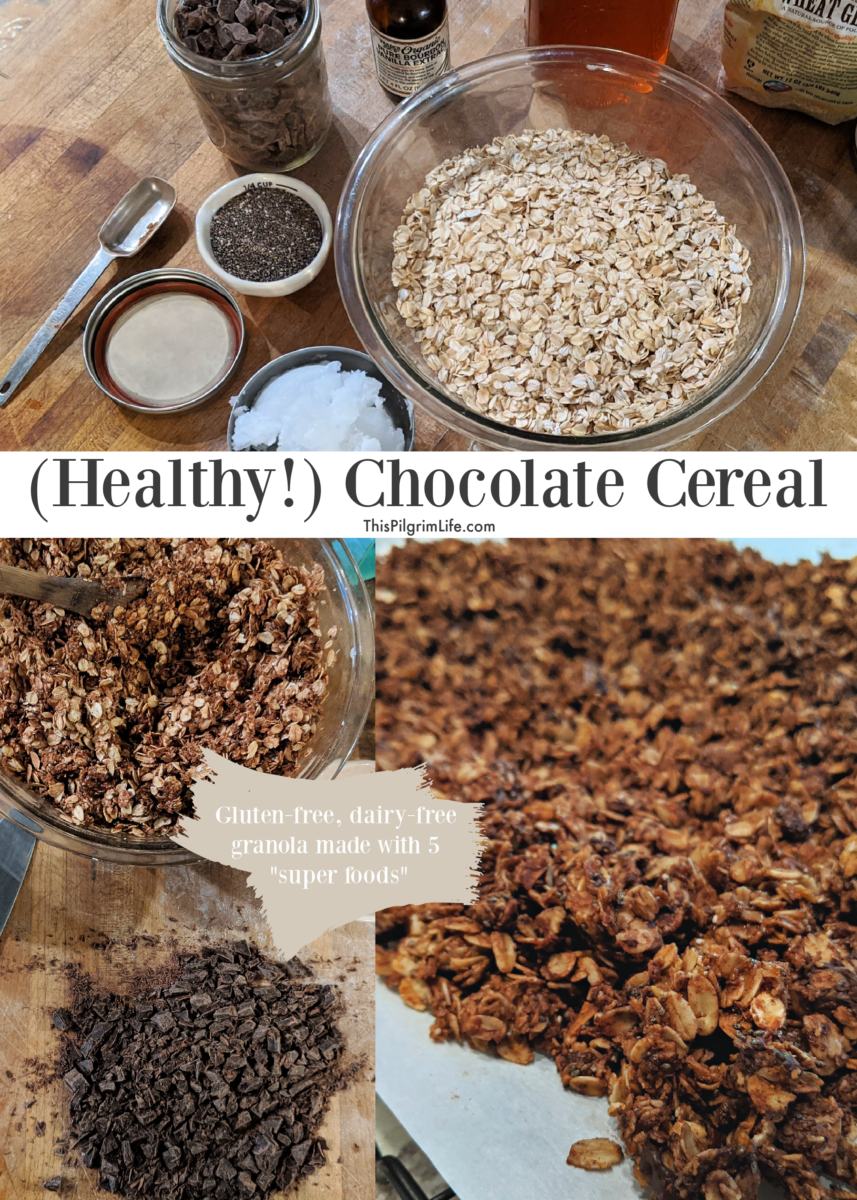 Healthy, homemade chocolate cereal made with five superfoods and no refined sugar. So good as a cereal with milk, or as a topping for yogurt!