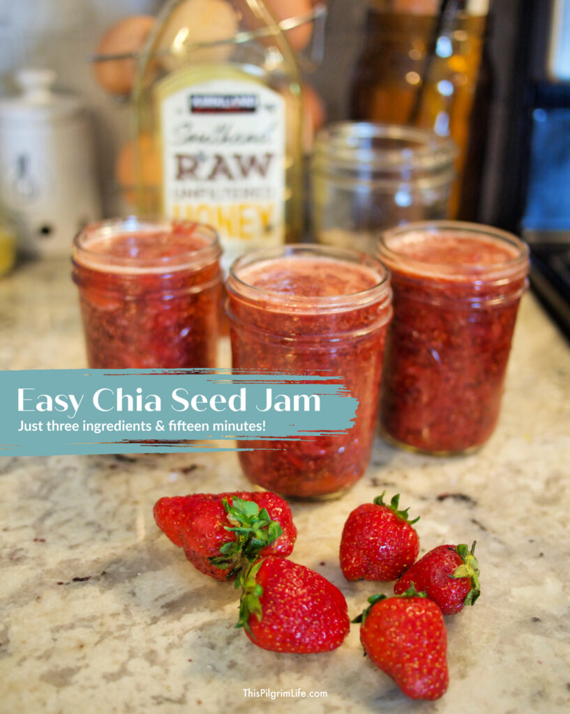 Chia seed jam is so quick and easy to make, is super healthy, and so tasty too! Only three ingredients and fifteen minutes!