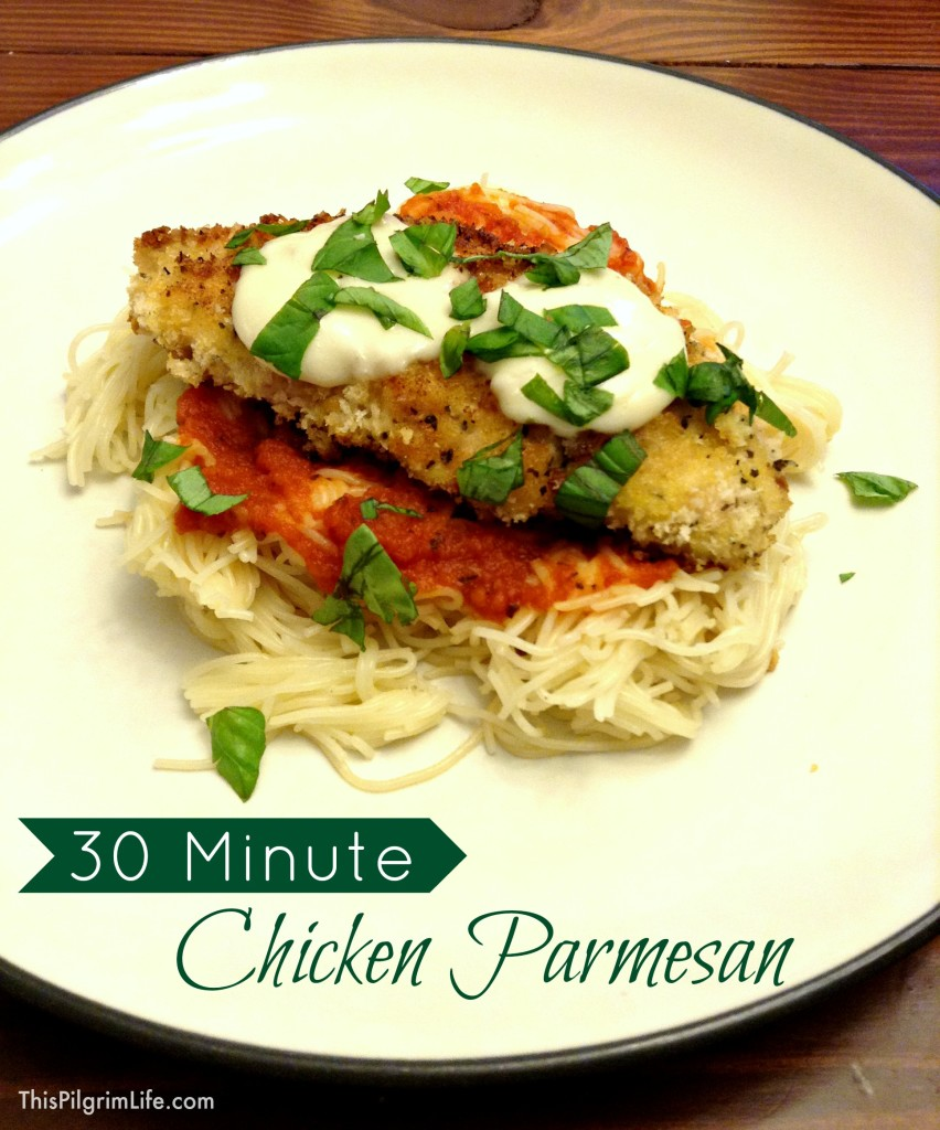 A crispy breading on the chicken, fresh mozzarella*, and the sweet flavor of fresh basil make this chicken parmesan a restaurant worthy meal. The convenience of boxed pasta and pre-made sauce also makes it a quick and easy meal that can be ready to eat in just thirty minutes.