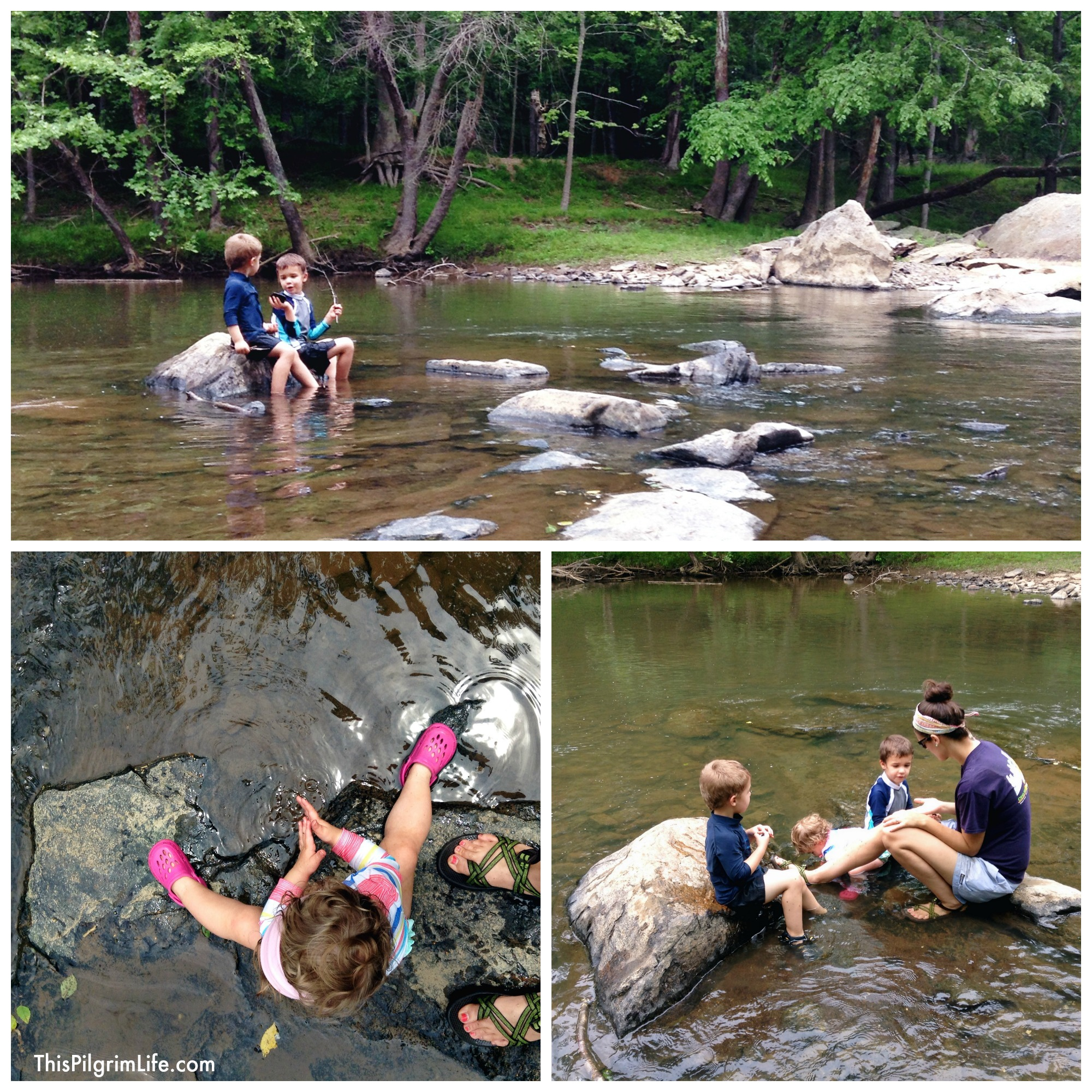 Playing in the river after going strawberry picking.