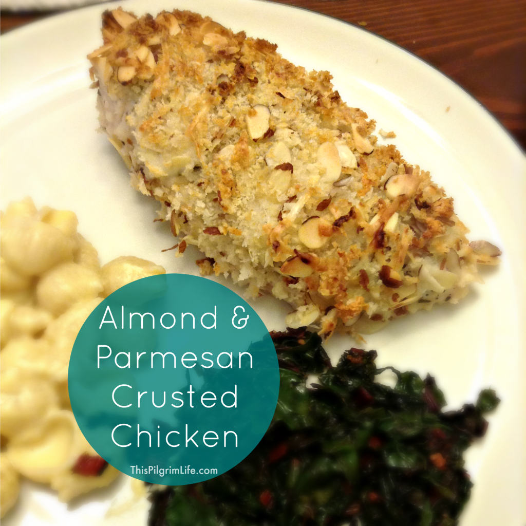 A quick and easy recipe for chicken breasts topped with chopped almonds and shredded Parmesan cheese. Ready in just thirty minutes!