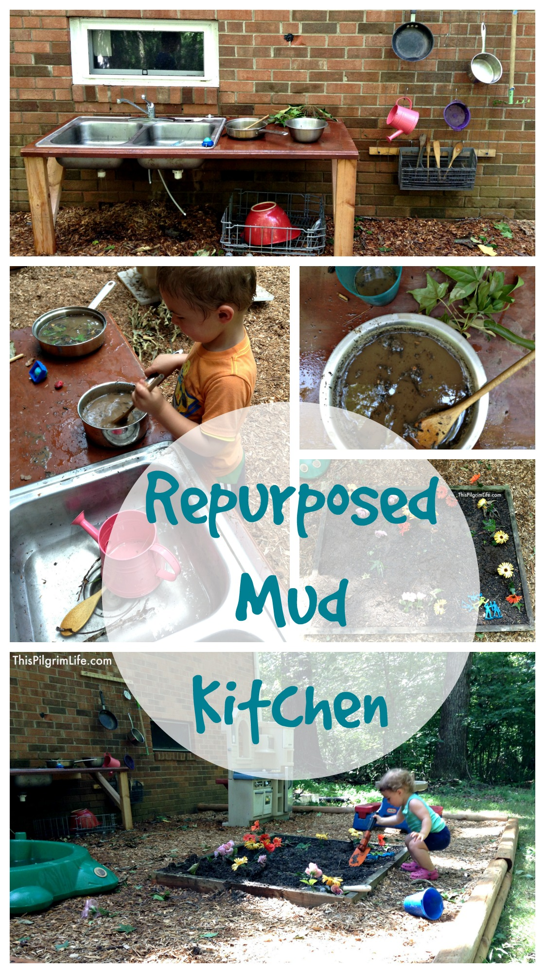 An awesome outdoor mud kitchen made with repurposed items from around the yard and house. Our new favorite backyard hangout!