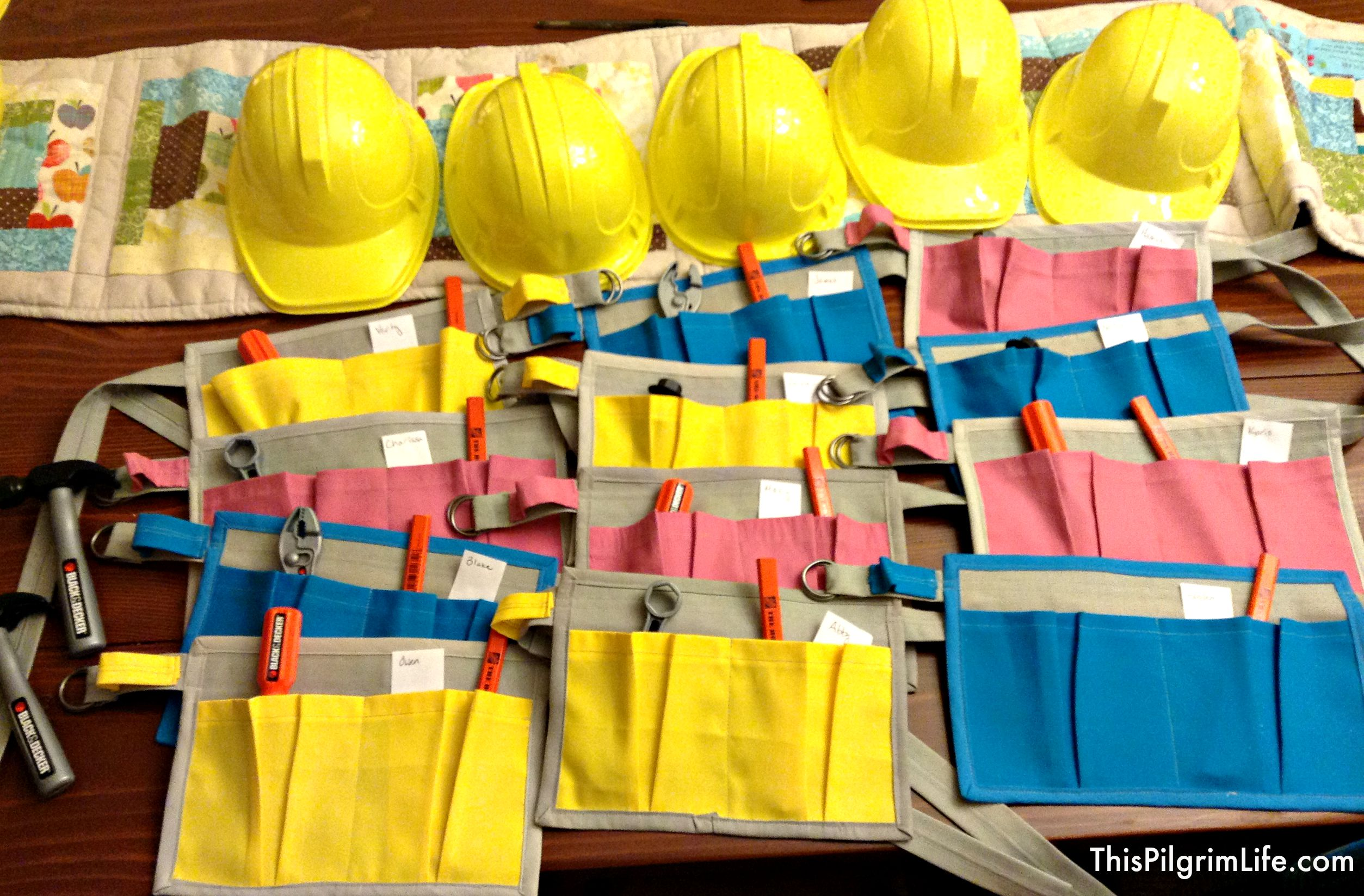 DIY tool belts for a child's tools birthday party.