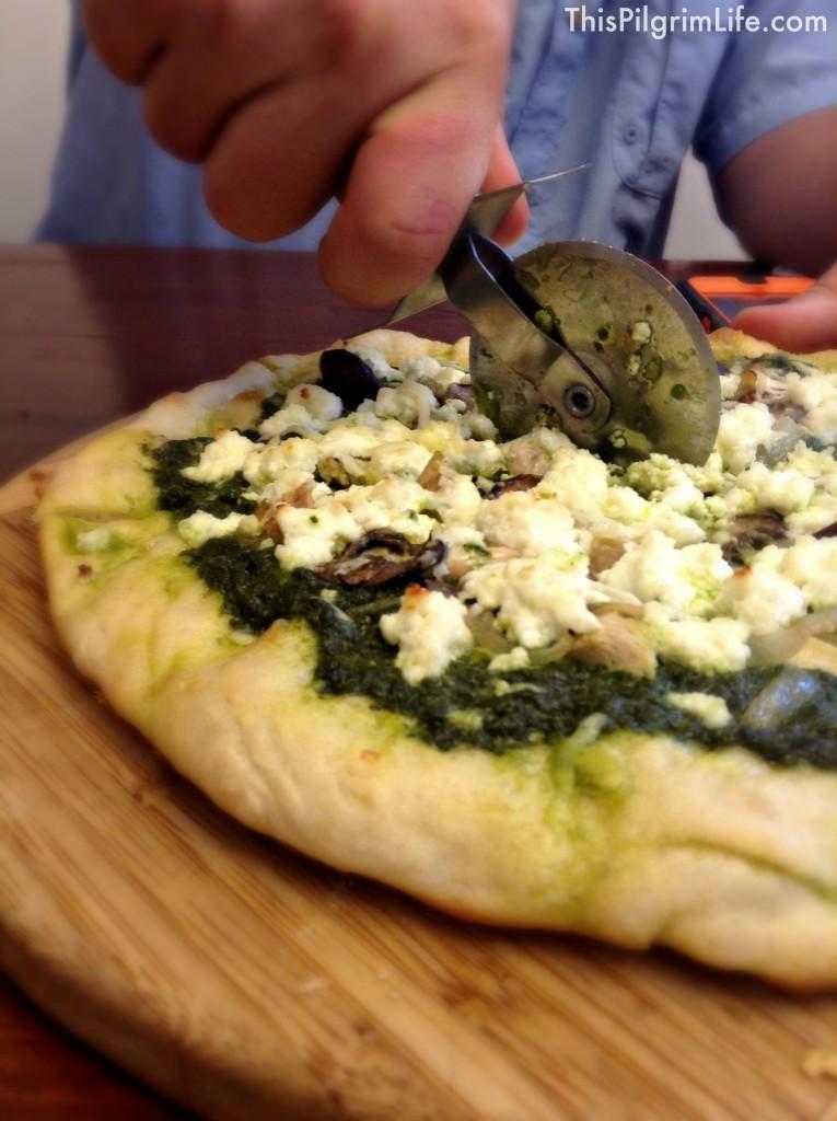 Pesto Pizza with Ricotta and Mushrooms
