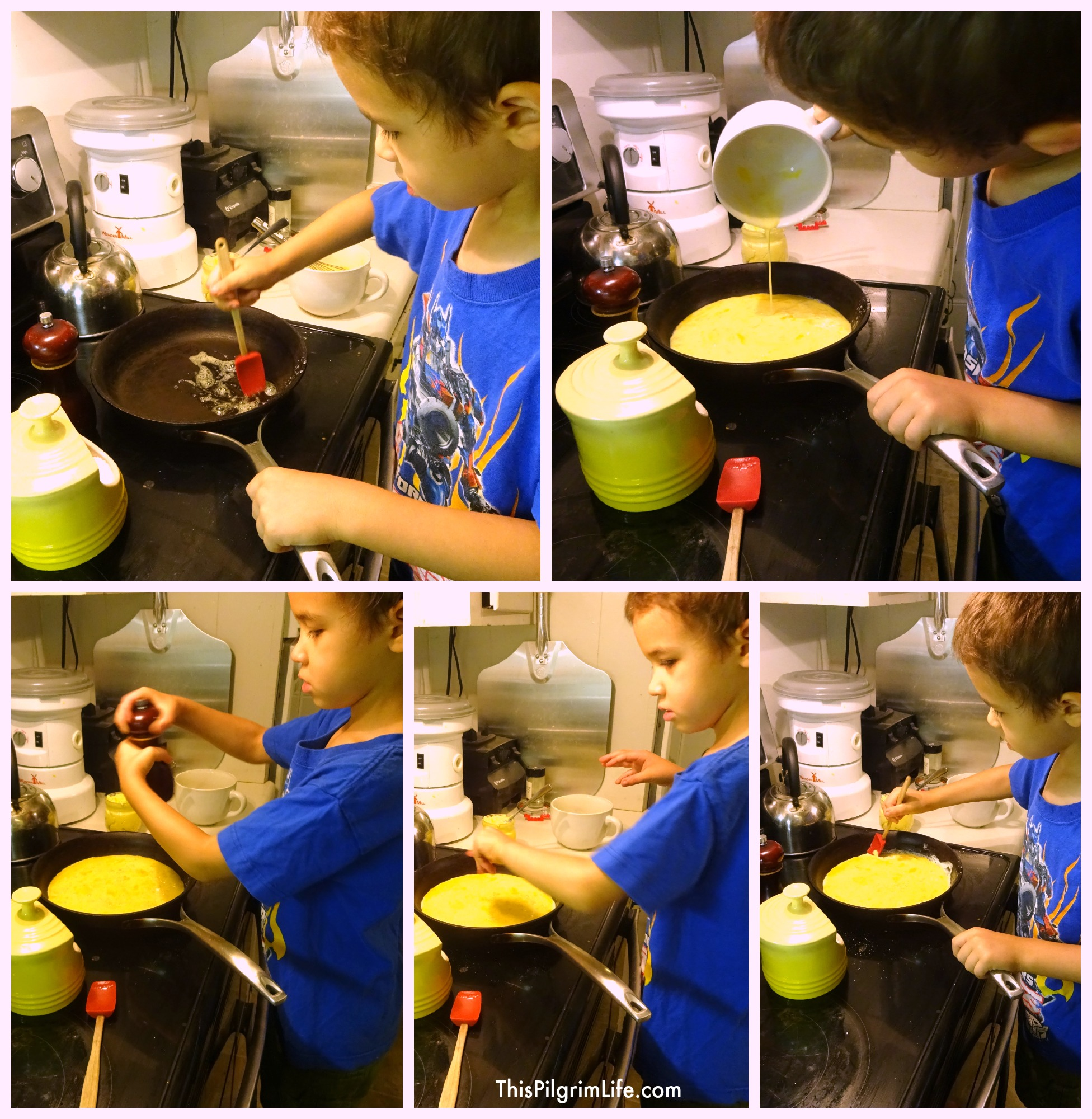 Kids of all ages can learn to help in the kitchen making fluffy scrambled eggs.