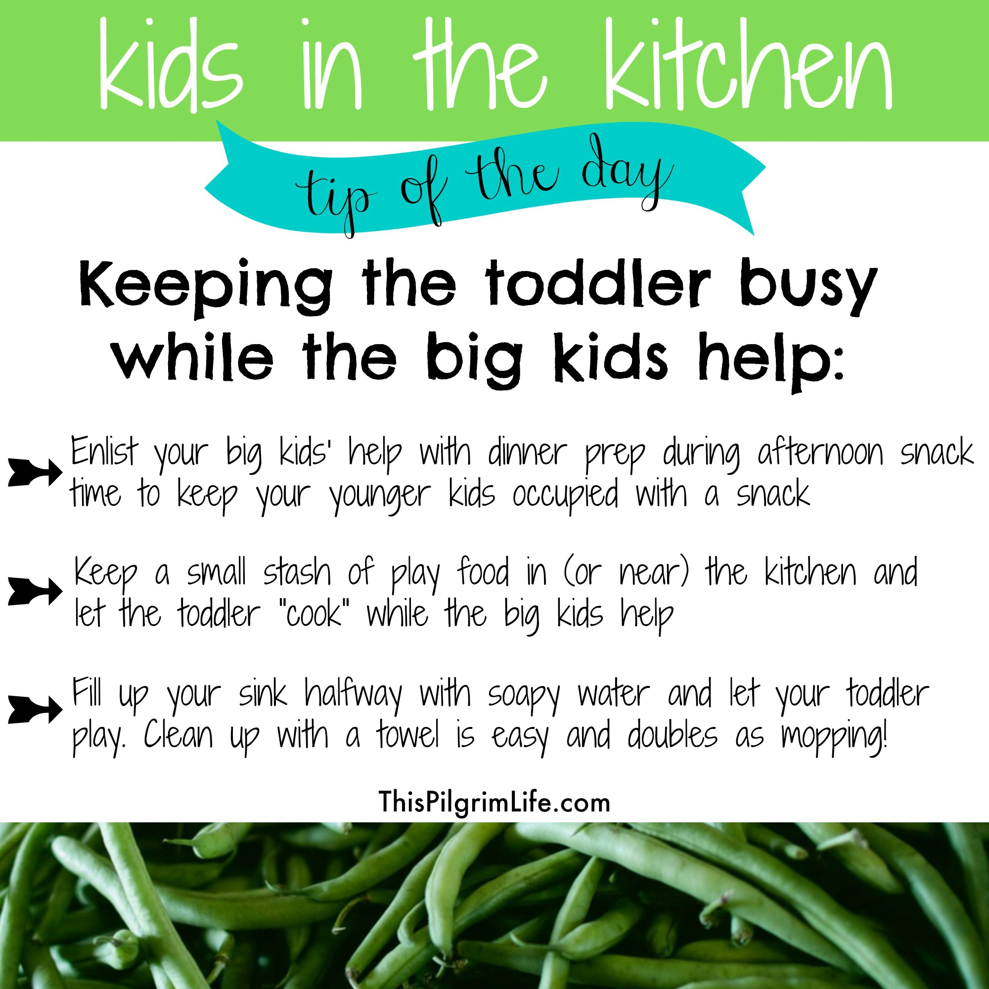 Kids in the kitchen-- what to do with the toddler while the big kids help.