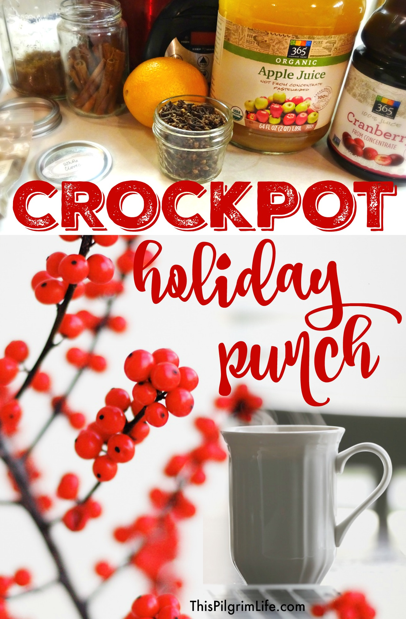 Love this easy holiday punch! It makes the house smell great as it heats in the crockpot and serves a lot of people for not a lot of money.