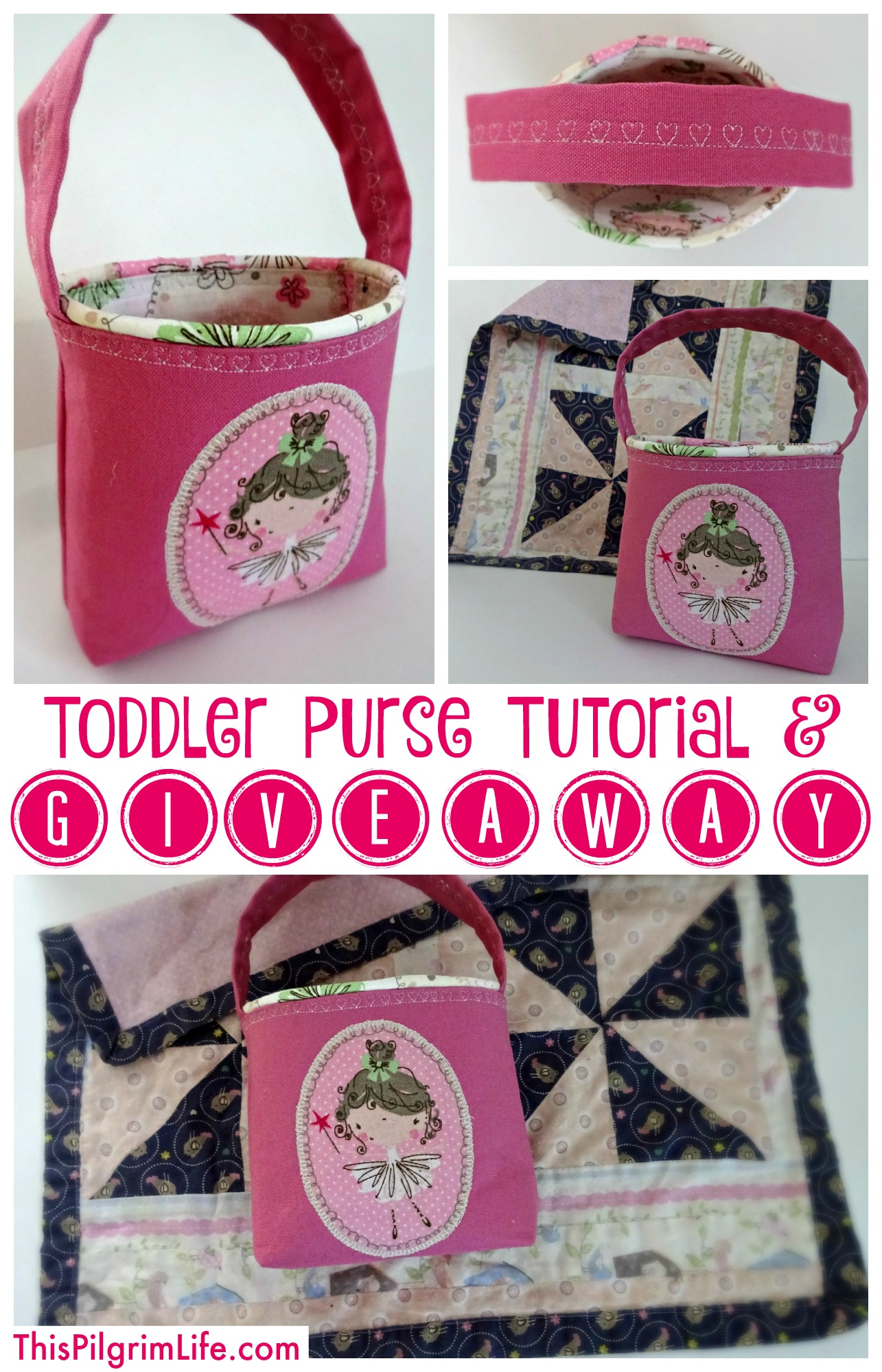 An easy step-by-step tutorial to make a simple purse for a toddler. AND a GIVEAWAY to win a toddler purse and quilted doll blanket!