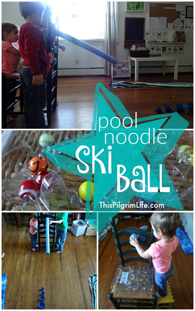 Make a fun ski ball game using a pool noodle, marbles, and a few small bowls!