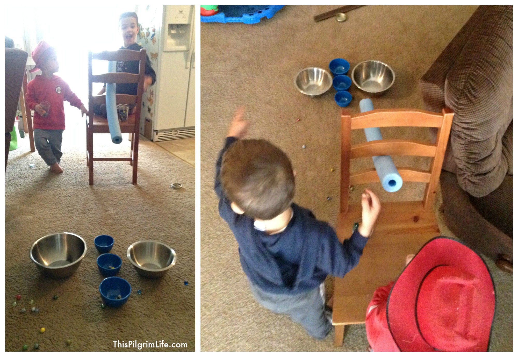 Make a fun ski ball game using a pool noodle, some marbles, and a few small bowls!