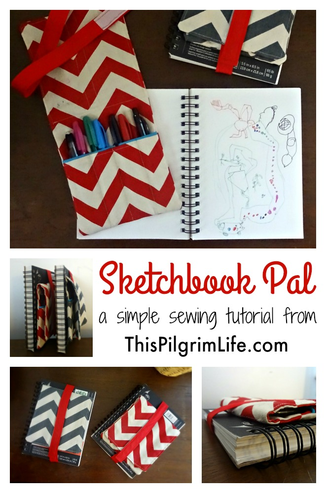 Follow this simple tutorial to make a sketchbook pal to keep pens and pencils right where you need them-- attached to your sketchbooks!
