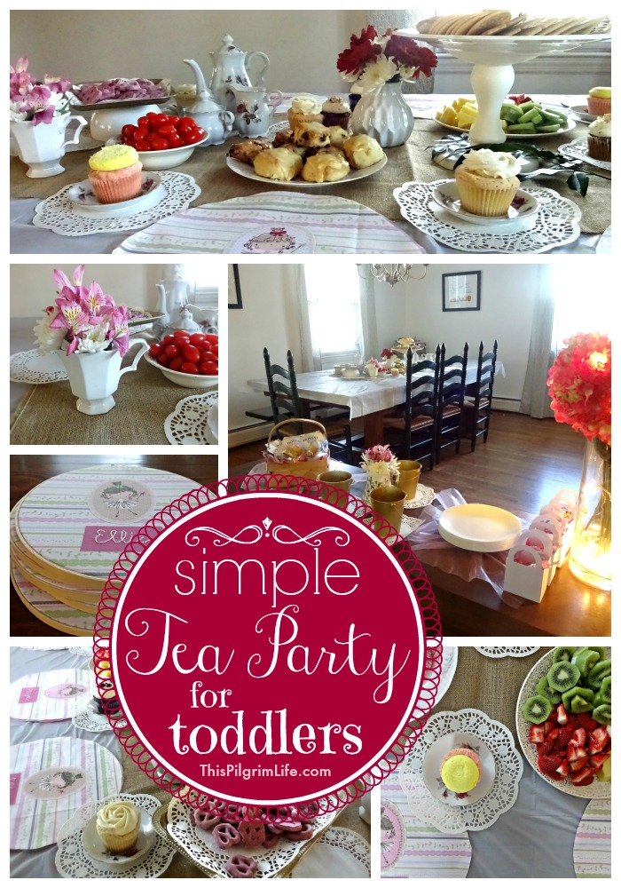 My little girl turned two this week and we celebrated with a very simple tea party. With items from the Dollar Store and Goodwill, I put together a pretty, yet inexpensive, party with a handful of her friends.