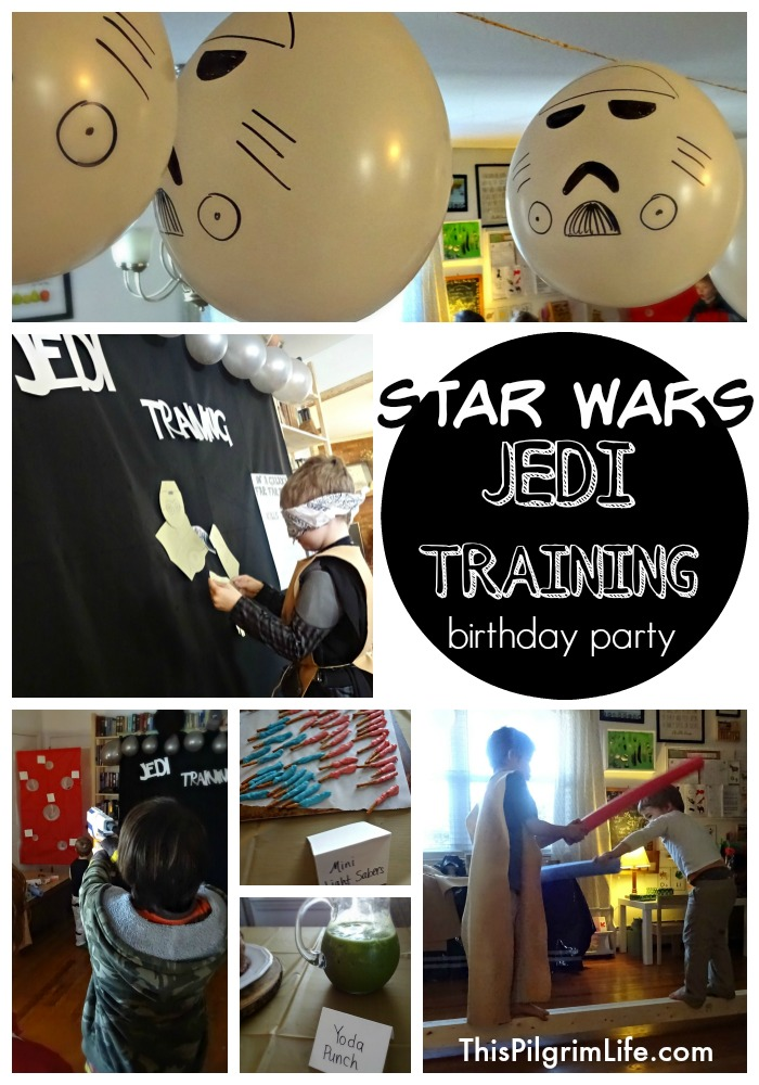 This weekend we celebrated my son's fourth birthday with a Star Wars Jedi Training party. He and several of his friends practiced their light saber skills, droid building skills, and more during the simple birthday party.