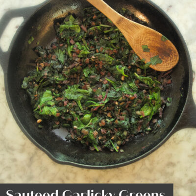 Sautéed garlicky greens are so quick and easy to make, not to mention, so incredibly tasty! Sautéing greens in a pan with a little oil, salt, and garlic is a delicious way to enjoy fresh seasonal greens, as well as spinach, Swiss chard, and kale year round. Everyone in my family (including the kids) loves this simple side dish!