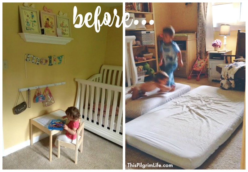 Shared room reveal for a big sister and baby brother for Brother and sister shared bedroom ideas