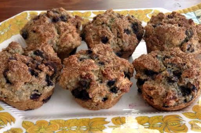 A hearty muffin loaded with blueberries and two kinds of nuts! Perfect for breakfast or for snacks!