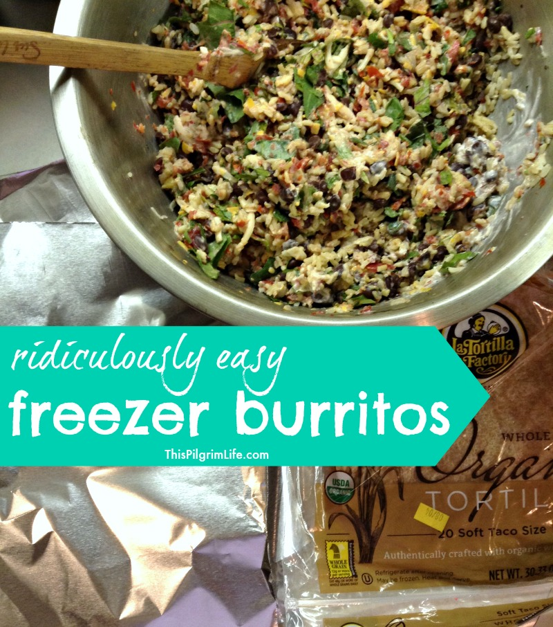 Freezer burritos filled with black beans, rice, salsa, cheese and more!