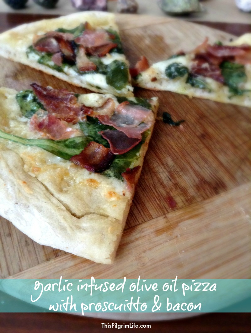 Garlic Infused Olive Oil Pizza with Prosciutto and Bacon :: This restaurant-inspired pizza is a must-try!