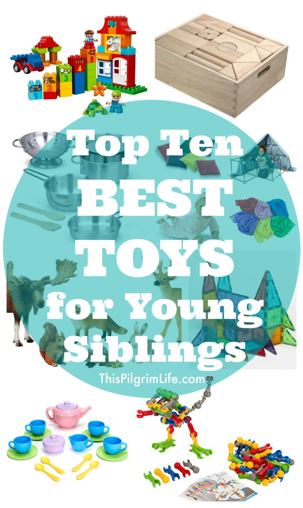 Check out this list of the top ten best toys for young children to play with together-- from babies to elementary age!