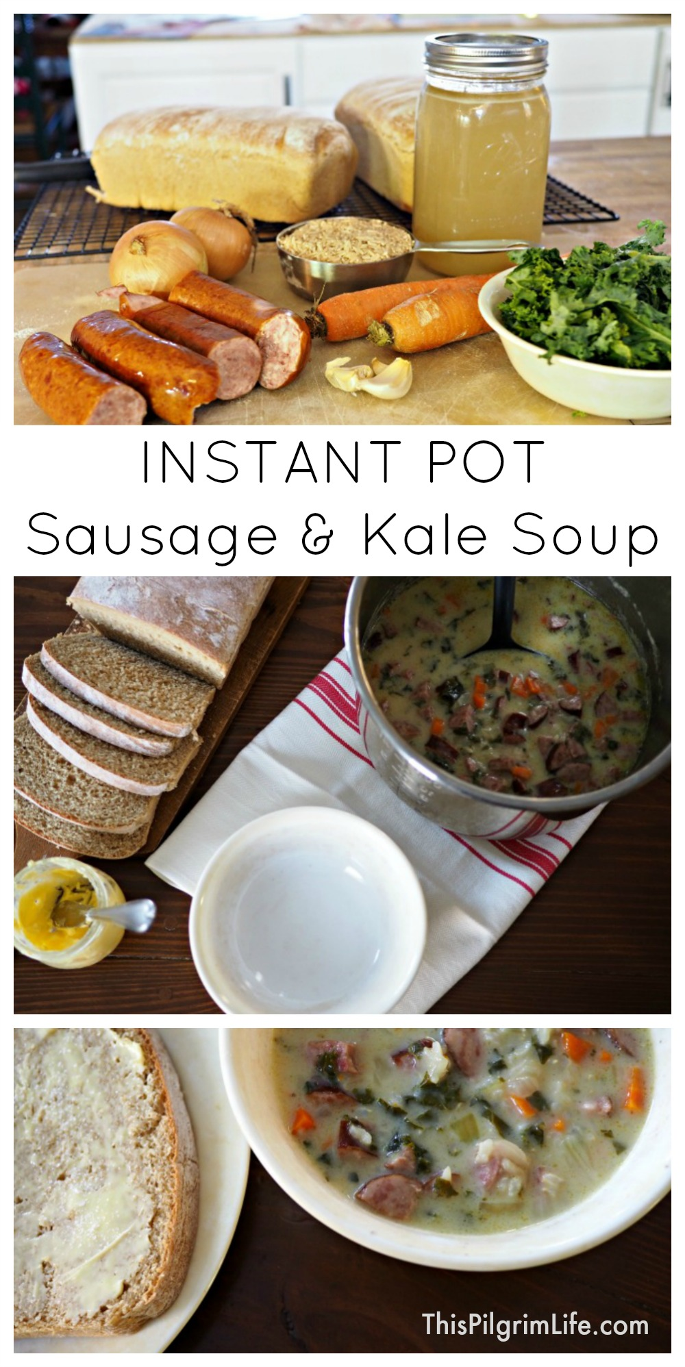 Quick, easy, and DELICIOUS recipe for sausage and kale soup in the Instant Pot!