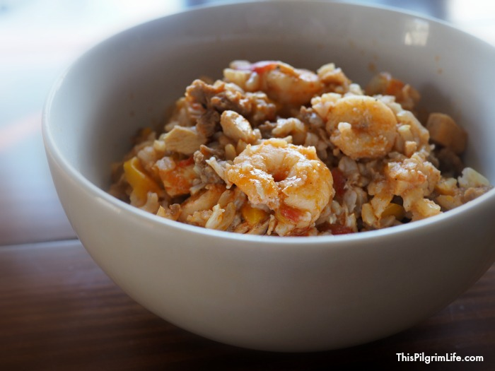 Spicy jambalaya with shrimp and sausage is so easy to make in an Instant Pot!