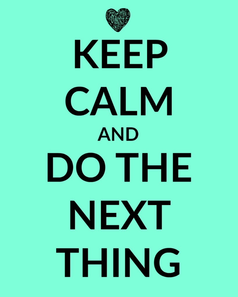 Keep calm and do the next thing. We can answer the accusations of failure by remembering that as long as we continue to show up, to keep trying, to do the next thing, we are succeeding.