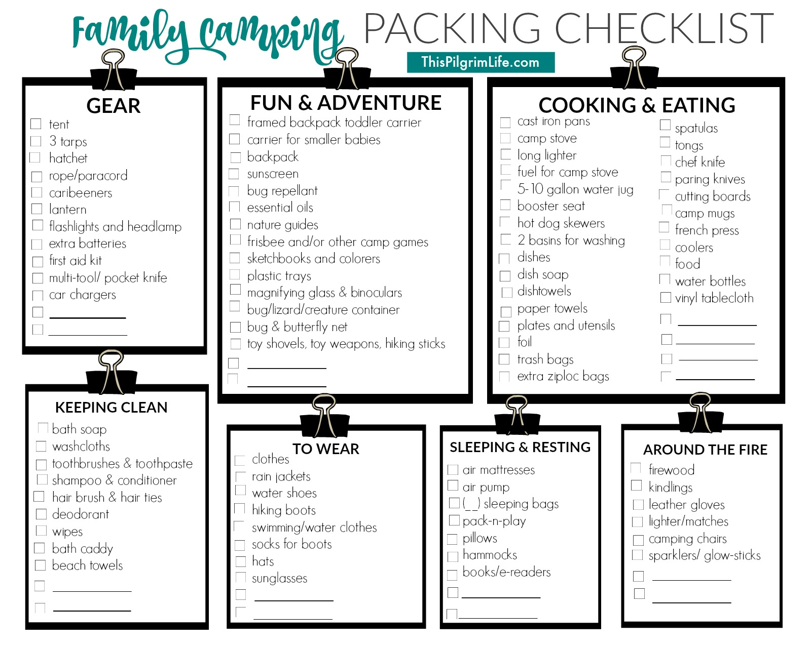 family camping packing list this pilgrim life