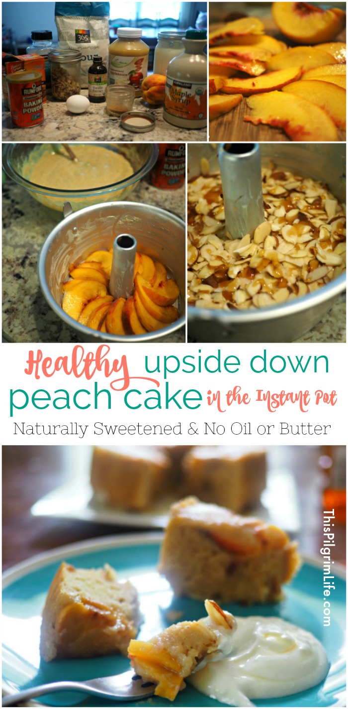 This upside down peach cake is AMAZING! Naturally sweetened, no oils or butter, and made in the pressure cooker to give it extra richness and moistness.