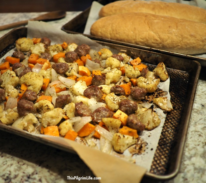 sheetpan roasted sausage and root vegetables
