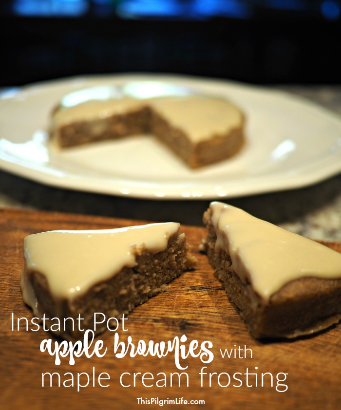 Delicious, gluten-free, and reduced-sugar apple brownies mixed in a blender and cooked in just fifteen minutes in an Instant Pot!