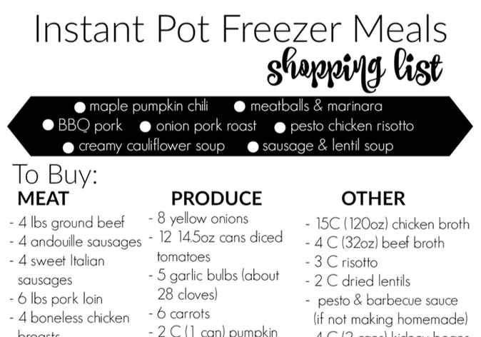 Instant Pot Freezer Meals Round 2 Shopping List