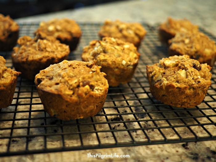Healthy and delicious apple muffins naturally sweetened with honey, applesauce, and chopped dates!