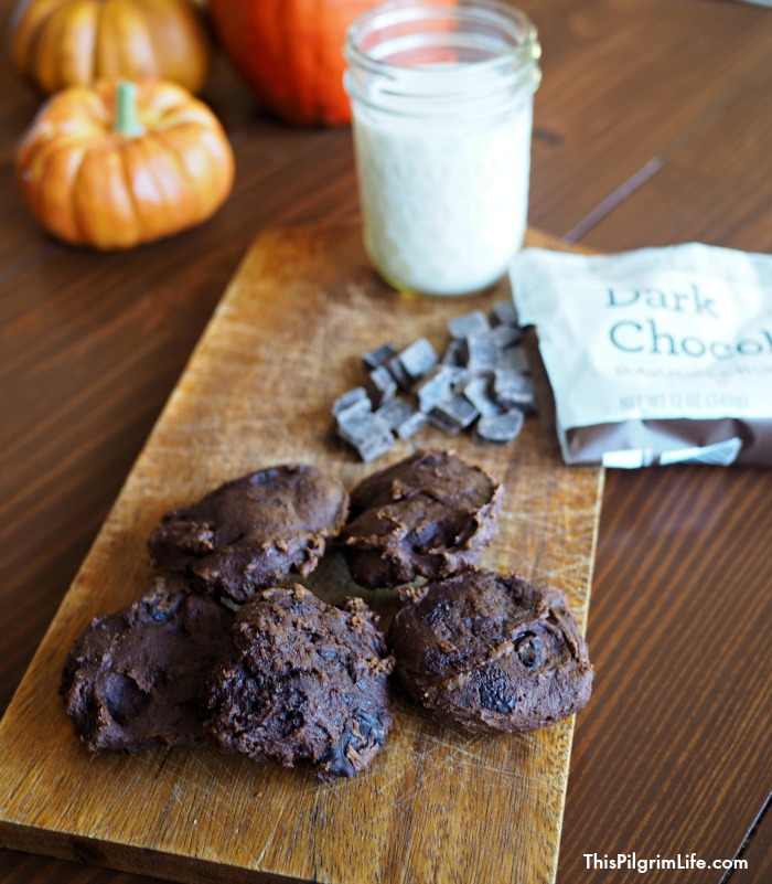 These double dark chocolate pumpkin cookies are a healthy, naturally sweetened snack cookie! Even better, they are packed with nutritious ingredients!