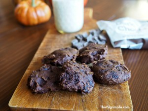 double dark chocolate pumpkin cookies