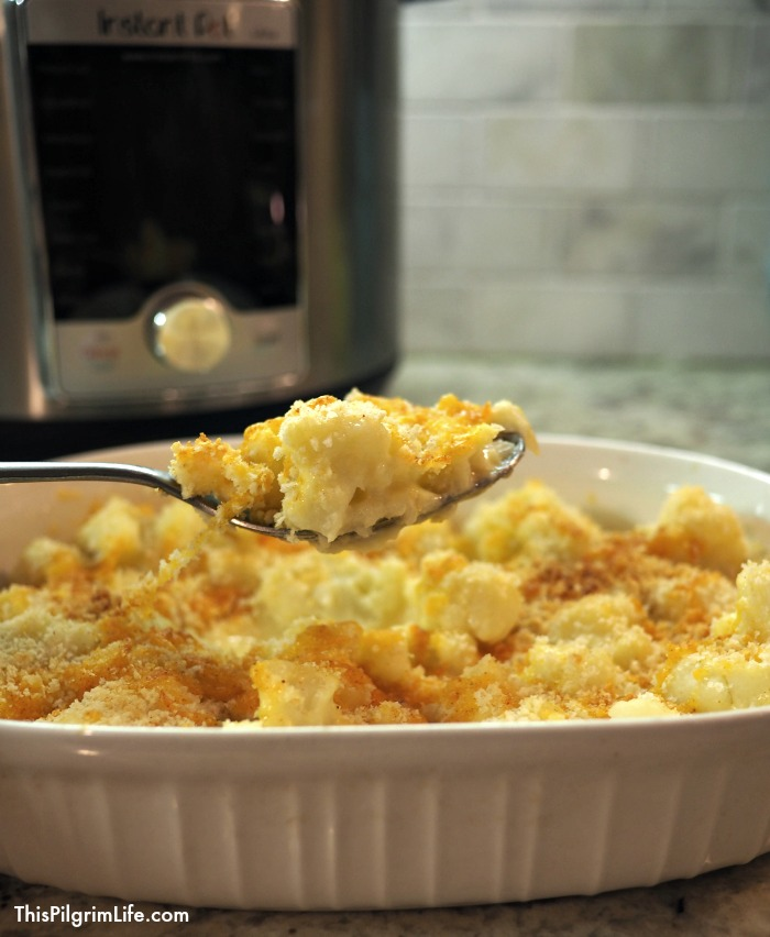 Creamy, cheesy, comfort food! Cauliflower au gratin is so simple to make in the Instant Pot, and tastes amazing!
